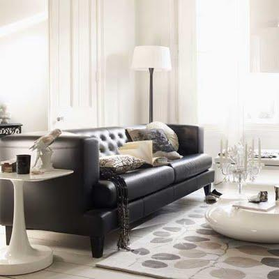 Black leather tufted sofa contemporary living room for Black couch living room