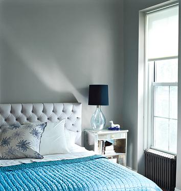 Gray And Blue Bedroom Design. Gray Tufted Headboard, Turquoise Blue Throw,  Glass Lamp With Black Shade And Gray Walls.