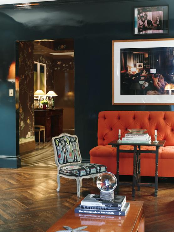 peacock blue walls eclectic living room farrow ball hague blue miles redd. Black Bedroom Furniture Sets. Home Design Ideas