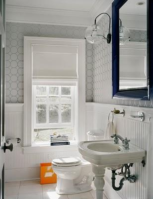 White Wallpaper Bathroom Beadboard Gray Metallic Wallpaper White Pedestal Sink Navy Blue Beveled Mirror Sconces And Crown Molding