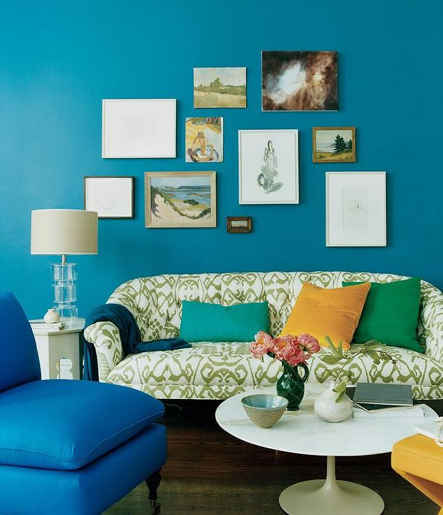 Peacock Blue Living Room Eclectic Living Room Domino