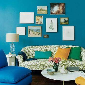 Peacock Blue Living Room, Eclectic, living room, Domino Magazine