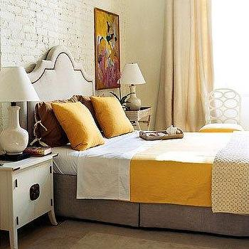 Gray and Orange Bedroom, Transitional, bedroom, Domino Magazine