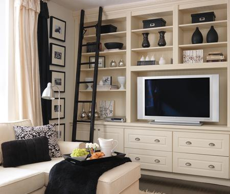 ivory built ins cabinets shelves media center entertainment unit black rolling stairs nickel hardware black accents black white photo gallery - Built In Entertainment Center Design Ideas