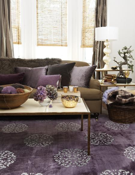 Purple and brown living room transitional living room for Purple and grey living room ideas