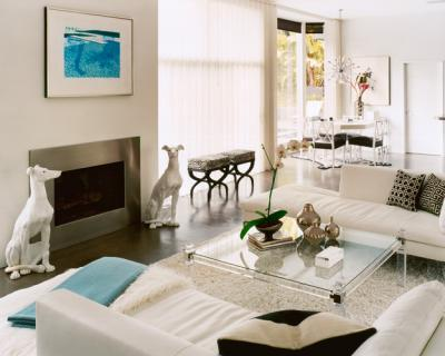 ... Modern White U0026 Turquoise Blue Living Room Design With White Walls,  Steel Fireplace, White Dog Statues, White Chaise Lounge Sofas, Lucite  Coffee Table, ...
