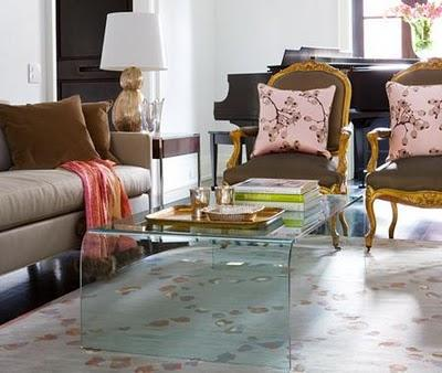 Acrylic Lucite Modern Cocktail Table, Taupe Silk Sofa, French Taupe Silk  Chairs, Rug And Copper Lamp.