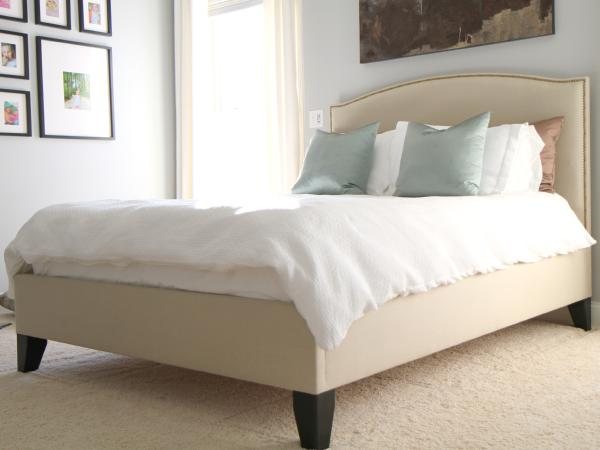 Bed My Husband And I Made To Look Like The Colette Blue Silk Pillows Upholstered Gray Walls Paint Color