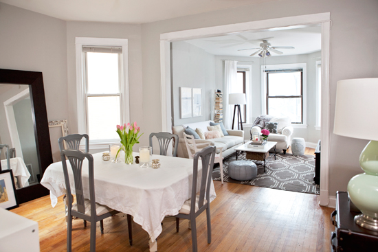 Alaina Kaczmar   Gorgeous Gray And White Dining Room! Ikea Mongstad Floor  Mirror, White Dining Table, Gray Dining Chairs With Upholstered Striped  White Gray ... Part 37