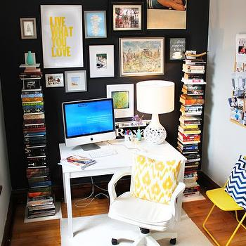 Black Accent Wall, Contemporary, den/library/office, Benjamin Moore Black Jack, Live Creating Yourself