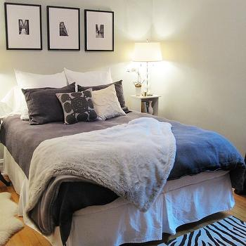 Gray Faux Fur Throw Blanket, Transitional, bedroom, Behr Dolphin Fin, Live Creating Yourself
