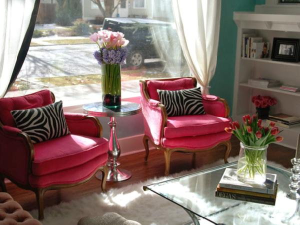 Hot Pink Chairs Eclectic Living Room Nest