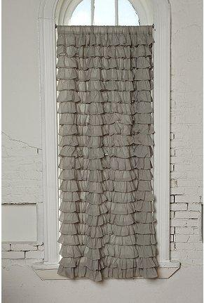 UrbanOutfitters Gray Waterfall Ruffle Curtain