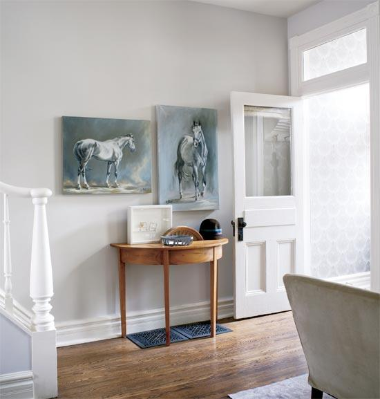 Half moon foyer table transitional entrance foyer Farrow and ball skimming stone living room
