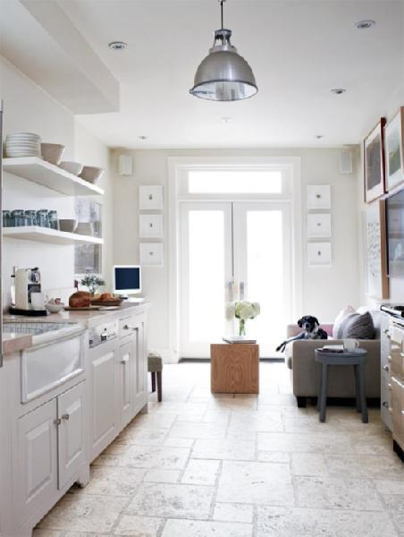 Limestone floor transitional kitchen farrow ball Farrow and ball skimming stone living room