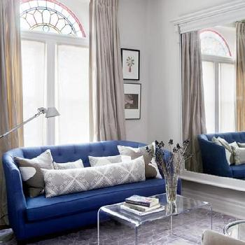 Indisgo Blue Sofa, Contemporary, living room, Farrow & Ball Skimming Stone, Style at Home