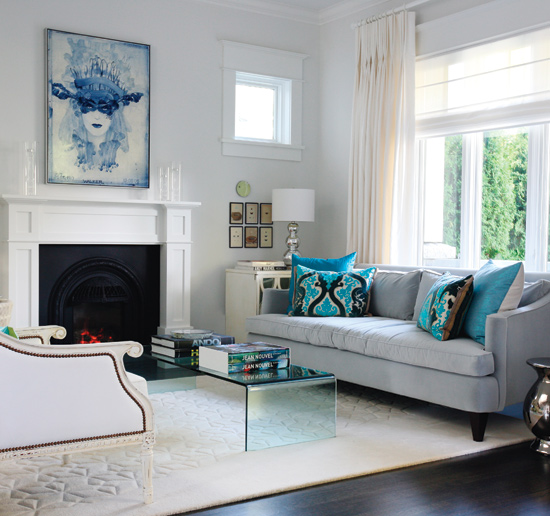 Blue Velvet Sofa Contemporary Living Room Benjamin Moore Pure White Style At Home
