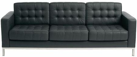 Modern Dose Black Leather Tufted Sofa