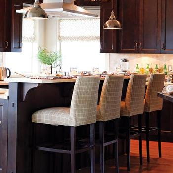 Brown KItchen Cabinets & Cream Upholstered Counter Stools Design Ideas islam-shia.org