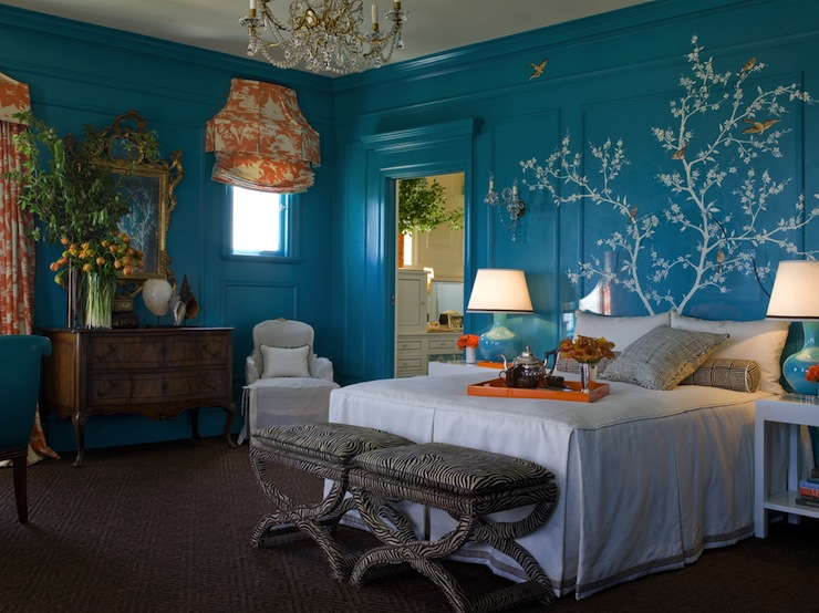 Turquoise Blue And Orange Bedrooms Design Ideas