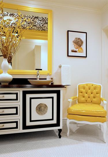 Yellow Chair Hollywood Regency Bathroom Storm Interiors