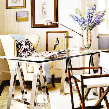 Chrome Sawhorse Desk, Cottage, den/library/office