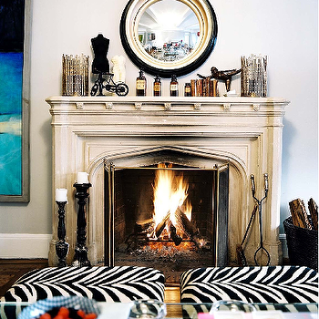 Zebra Ottoman, Eclectic, living room, Lonny Magazine