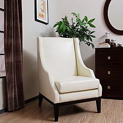 lummi white leather high back chair overstockcom - High Back Chairs For Living Room