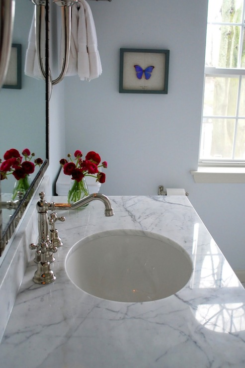 Polished nickel bathroom mirrors - White Carrera Marble Countertop Transitional Bathroom