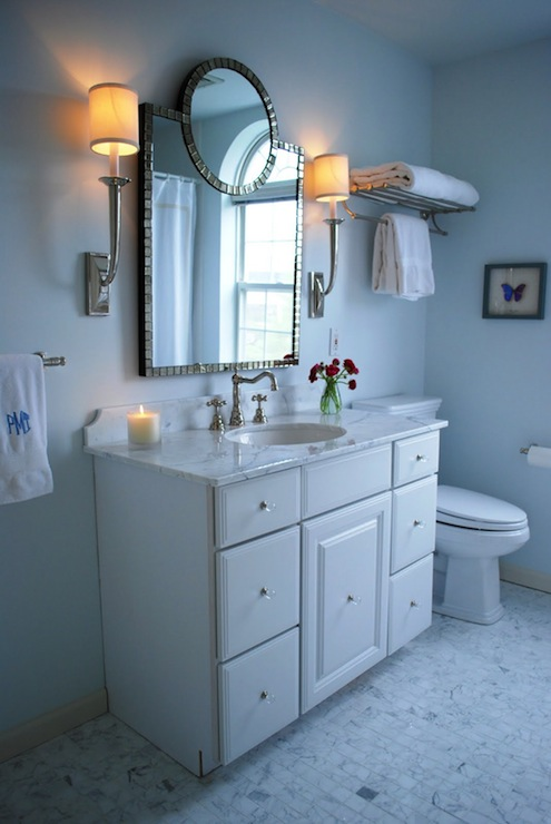 White carrera marble bathroom - Blue Paint Color Transitional Bathroom Benjamin