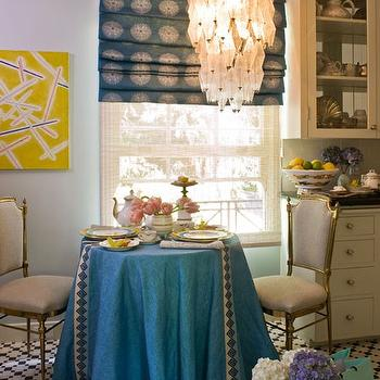 Turquoise Blue Tablscloth, Eclectic, dining room, Kelly Wearstler