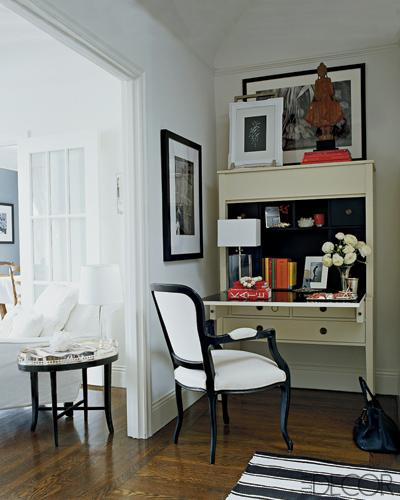 Work Space Contemporary Secretary Desk Painted White With Black Interior And Bergere Chair Striped Rug Gallery Frames