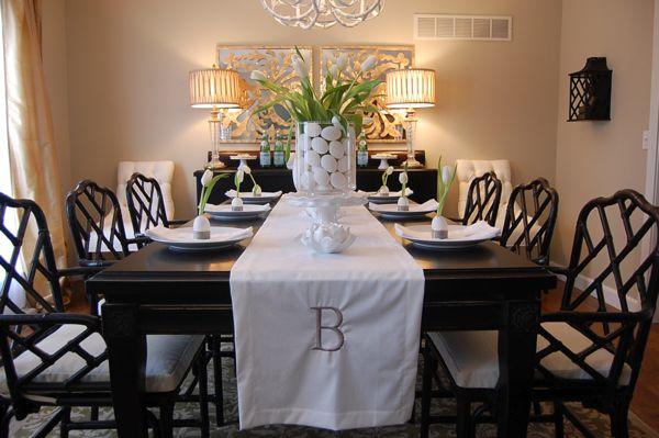 easter tablescape with eggs and tulips black asian dining table and