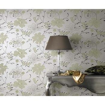 59026 Laurence Llewelyn-Bowen Taffetia Cream,Green Floral Wallpaper : Graham & Brown