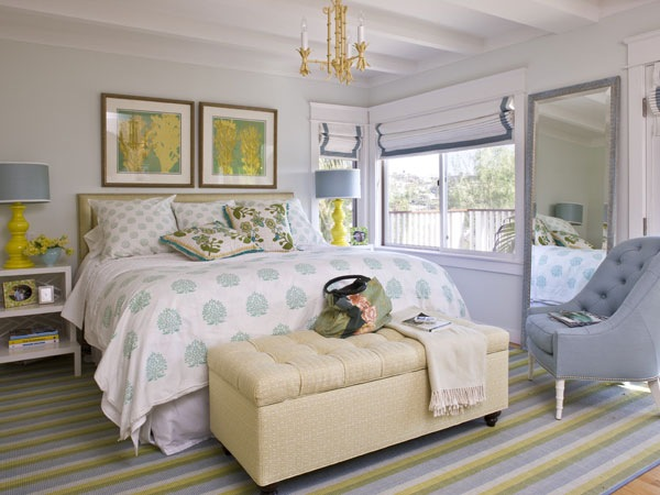 Yellow And Gray Bedroom Cottage Bedroom Waterleaf Interiors