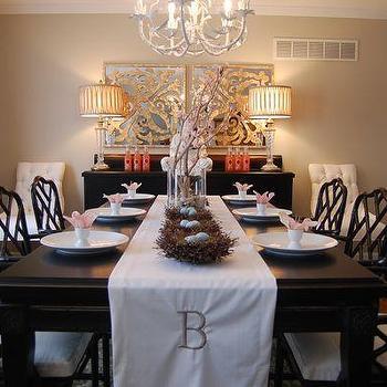 Easter Tablescape, Asian, dining room, Benjamin Moore Grant Beige