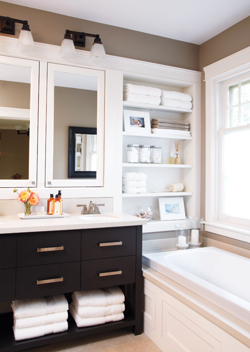 Shelving Over Bathtub Contemporary Bathroom Style