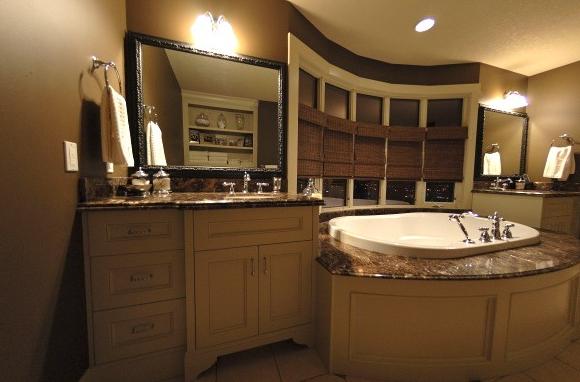Marrone Imperial Marble - Transitional - bathroom - Veranda Interiors