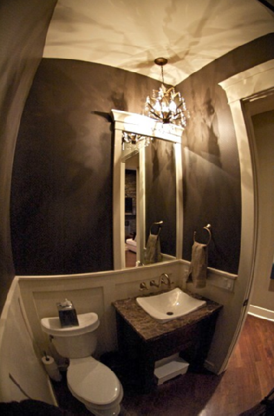 Powder room wainscoting transitional bathroom for Bathroom powder room designs