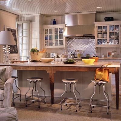 Coastal Kitchen Design With Vintage Draftsman Precision Industrial