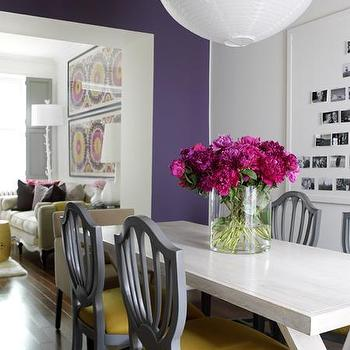 Purple wall paint eclectic living room benjamin for Purple dining room wall art