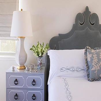 Gray Velvet Headboard, Transitional, bedroom, Ruthie Chapman Sommers