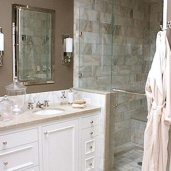 Taupe Walls, Contemporary, bathroom, Kimberly Ayres