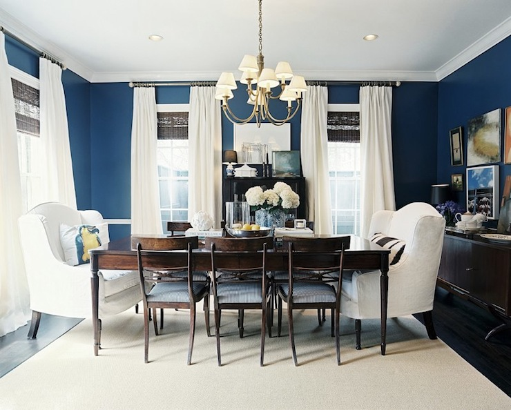 Delightful Ashley Putman   Gorgeous Blue U0026 Brown Dining Room Design With Bold Blue  Walls Paint Color, Chair Rail, Wood Turned Leg Dining Table, Wood, Dining  Chairs ...