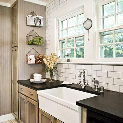 Harris Kitchen Subway Tiles Farmhouse Sink Taupe Kitchen Cabinets