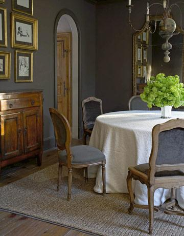 Gray dining rooms french dining room for Dark grey dining room