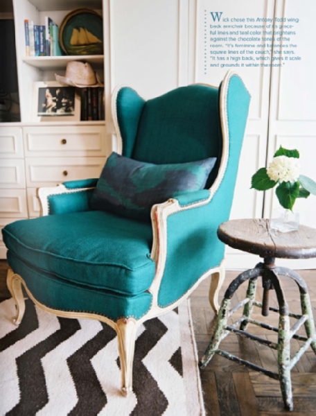 Turquoise Chair Contemporary living room Lonny Magazine