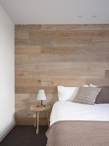 Wood accent wall modern bedroom for Wood wallpaper bedroom