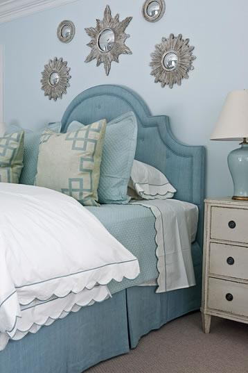 Blue upholstered headboard transitional bedroom for Blue white and silver bedroom ideas