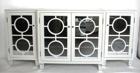 Ava Mirrored Buffet White Entertainment Storage Si
